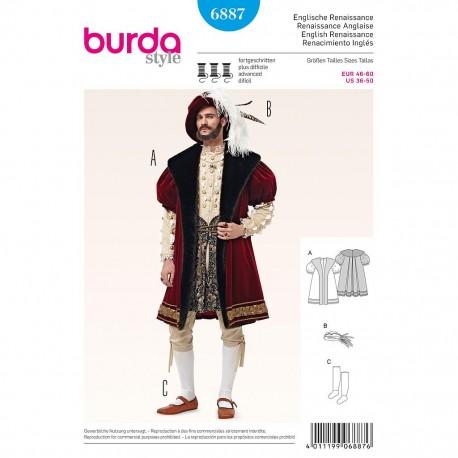 Patron Burda Style 6887 Historique Renaissance Anglaise 46/60