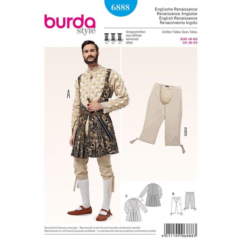 Patron Burda Style 6888 Historique Renaissance Anglaise 46/60