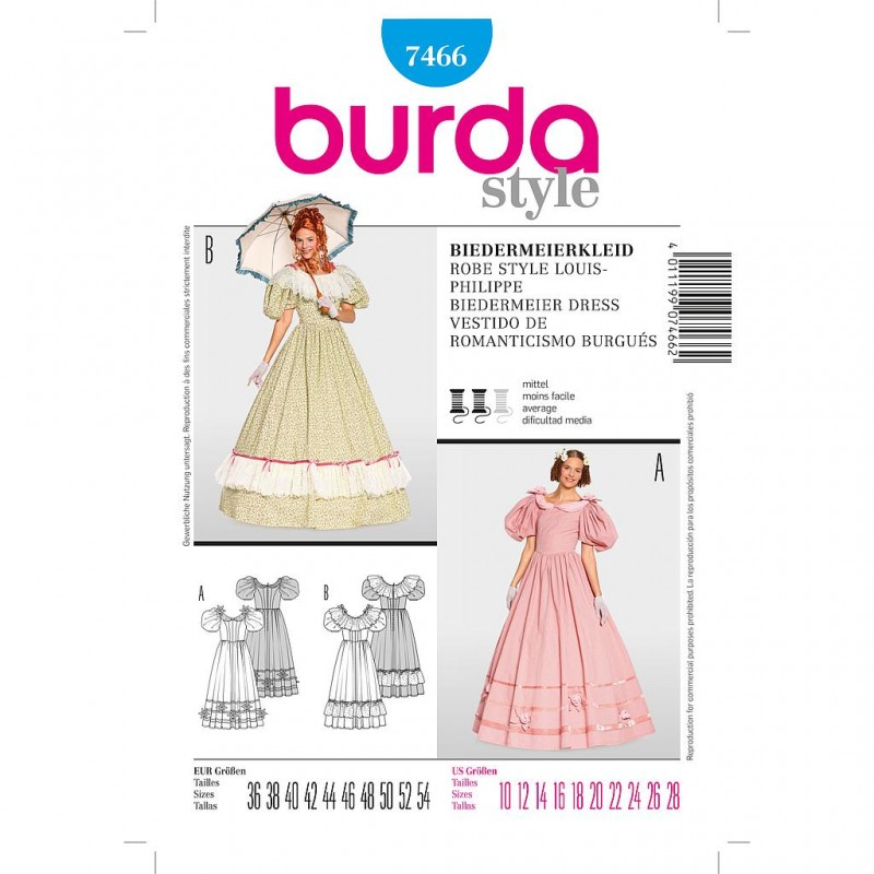 Patron Burda Style 7466 Historique Robe Style Louis Philippe 36/54