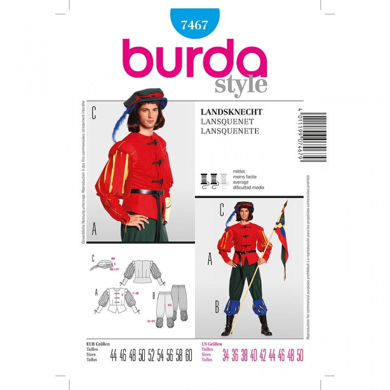 Patron Burda Style 7467 Historique Lansquenet 44/60