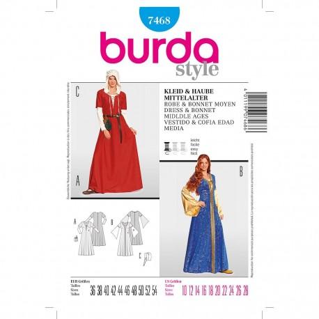 Patron Burda Style 7468 Historique Robe Bonnet Moyen Age 36/54