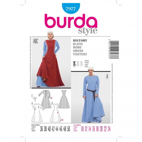 Patron Burda Historique 7977 Robe Historique 36/50