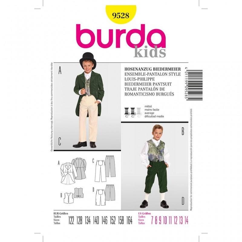 Patron Burda Historique 9528 Ensemble Pantalon Style Louis Philippe 122/164