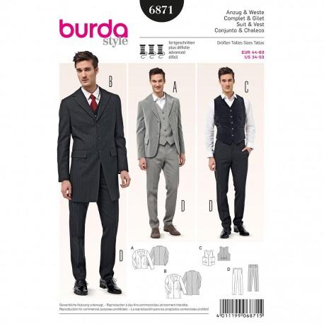 Patron Burda Style 6871Costume Complet et Gilet 44/60