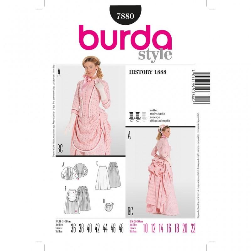 Patron Burda Historique 7880 Robe Historique (1888) 36/48