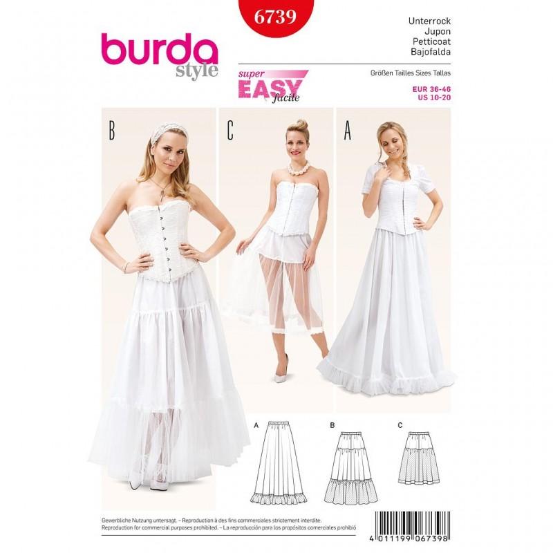 Patron Burda Style 6739 Historique Jupon 36/46