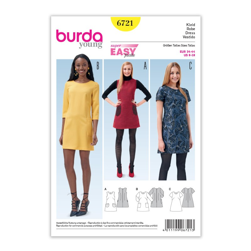 Patron Burda Style 6721 Robe 34/44