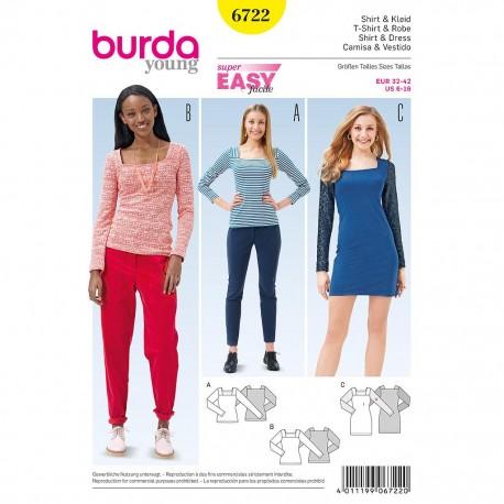 Patron Burda Style 6722 T-Shirt et Robe 32/42