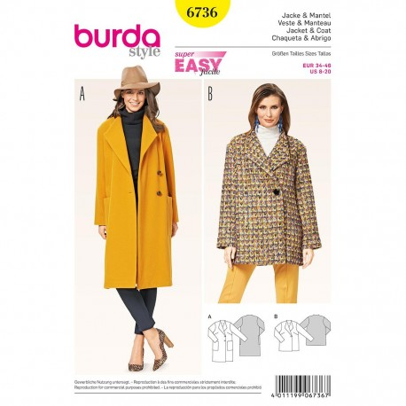 Patron Burda Style 6736 Veste et Manteau 34/46
