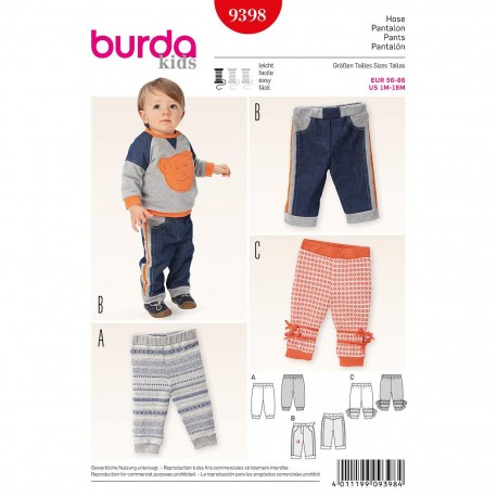 Patron Burda Kids 9398 Pantalon 56/86