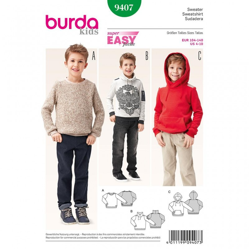 Patron Burda Kids 9407 Sweatshirt 104/140