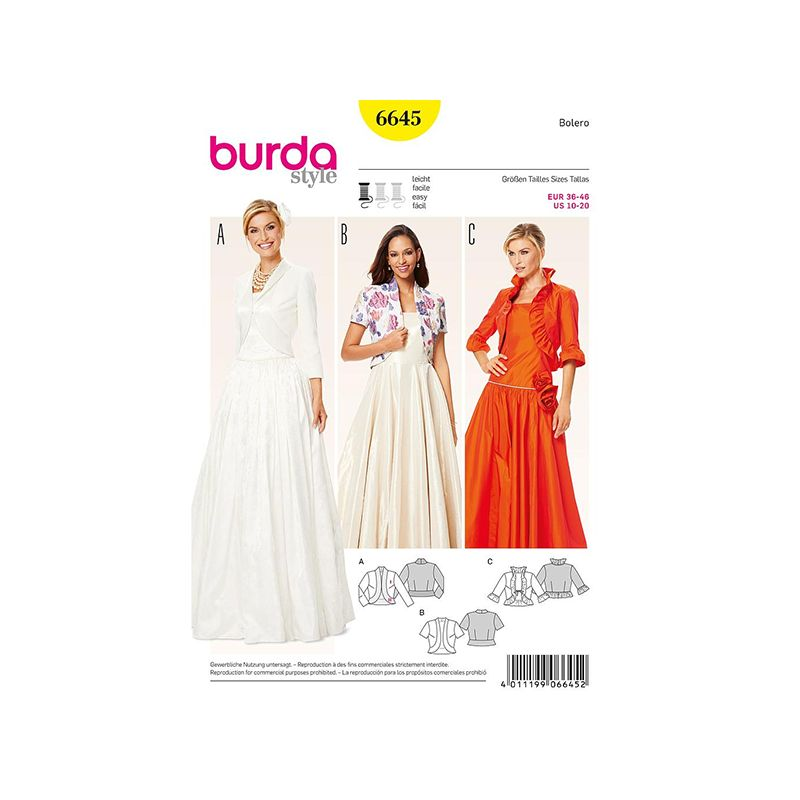 Patron Burda Style 6645 Boléro 36/46