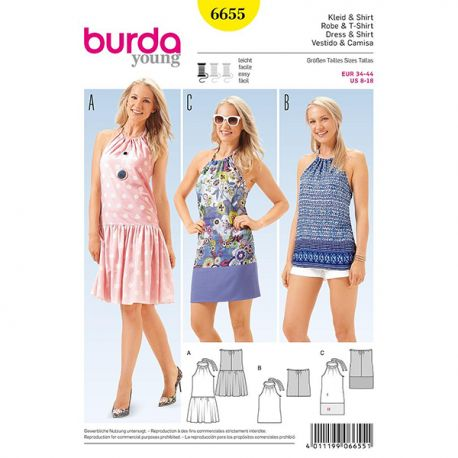 Patron Burda Style 6655 Robe et T-Shirt 34/44