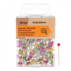 Boîte Epingle Tête Perle Multico - 200 pièces