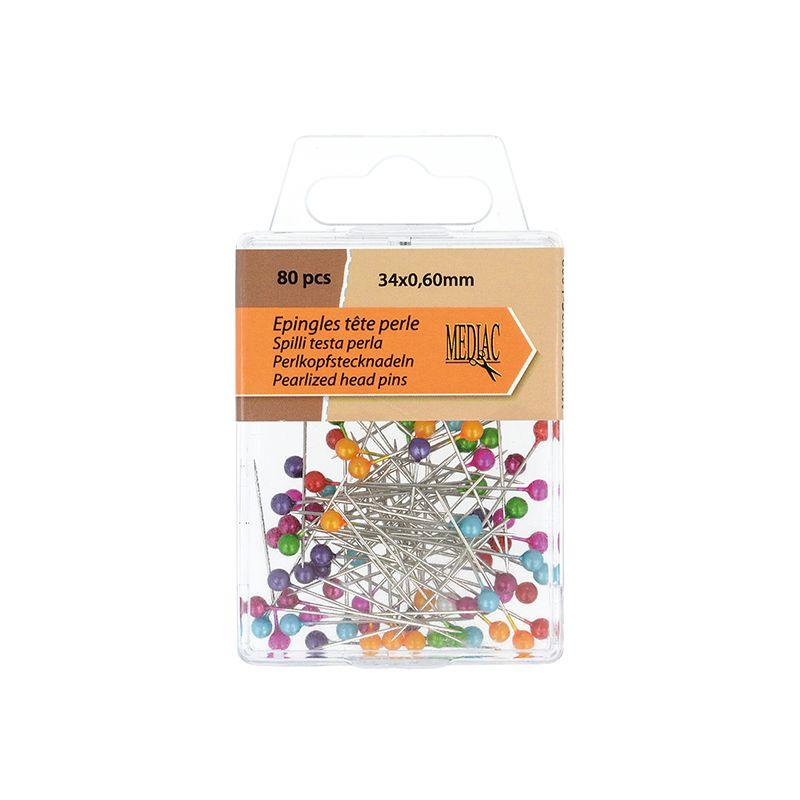 Boîte Epingle Tête de Perles - 80 pièces