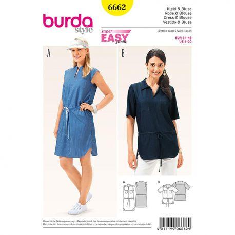 Patron Burda Style 6662 Robe et Blouse 34/46