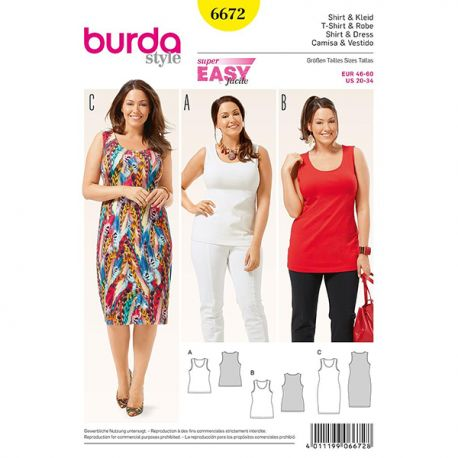Patron Burda Style 6672 T-Shirt et Robe 46/60