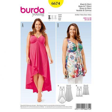 Patron Burda Style 6674 Robe et T-Shirt 44/56
