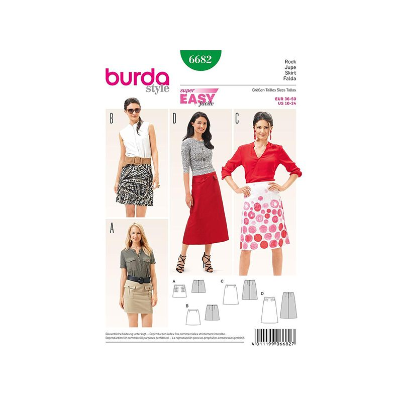 Patron Burda Style 6682 Jupe 36/50