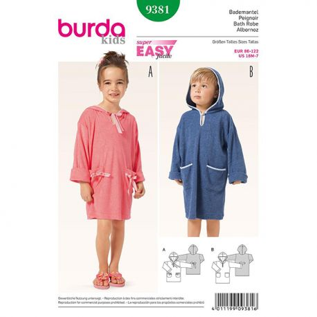 Patron Burda Kids 9381 Peignoir 86/122