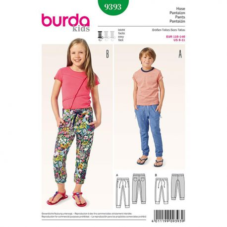 Patron Burda Kids 9393 Pantalon 116/146