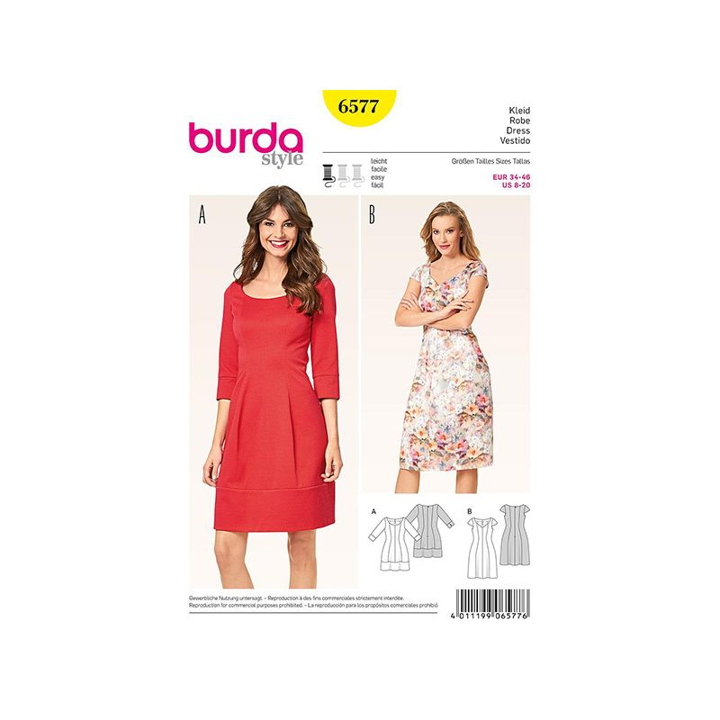 Patron Burda Style 6577 Robe Taille 34/46