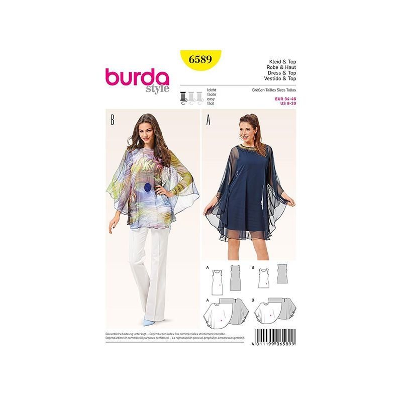 Patron Burda Style 6589 Robe et Haut Taille 34/46