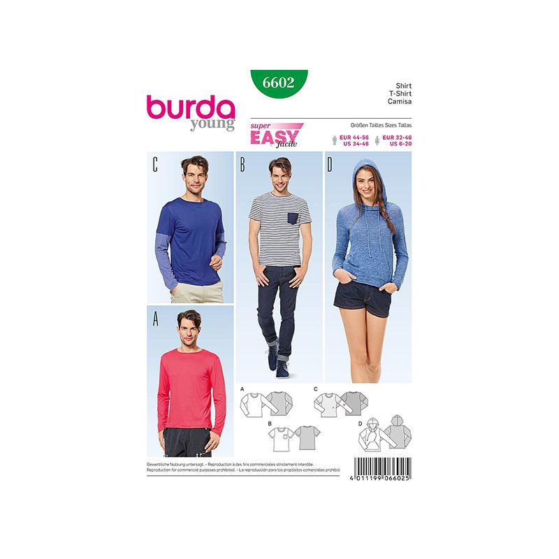 Patron Burda Style 6602 T-Shirt 32/46