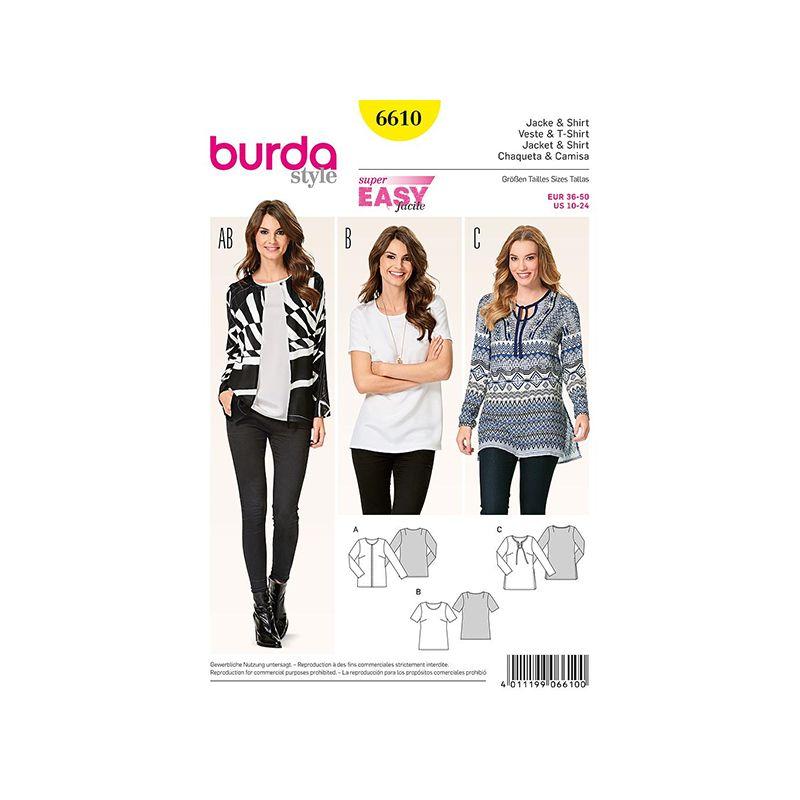Patron Burda Style 6610 Veste & T shirt taille 36/50
