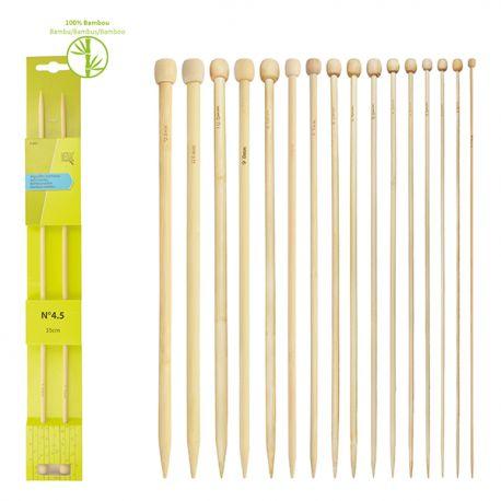 Aiguilles à Tricoter en Bambou - 10 Tailles