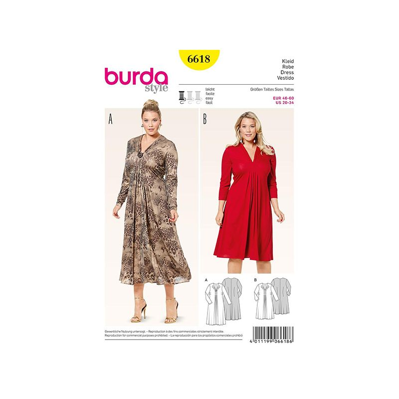 Patron Burda Style 6618 Robe 46/60