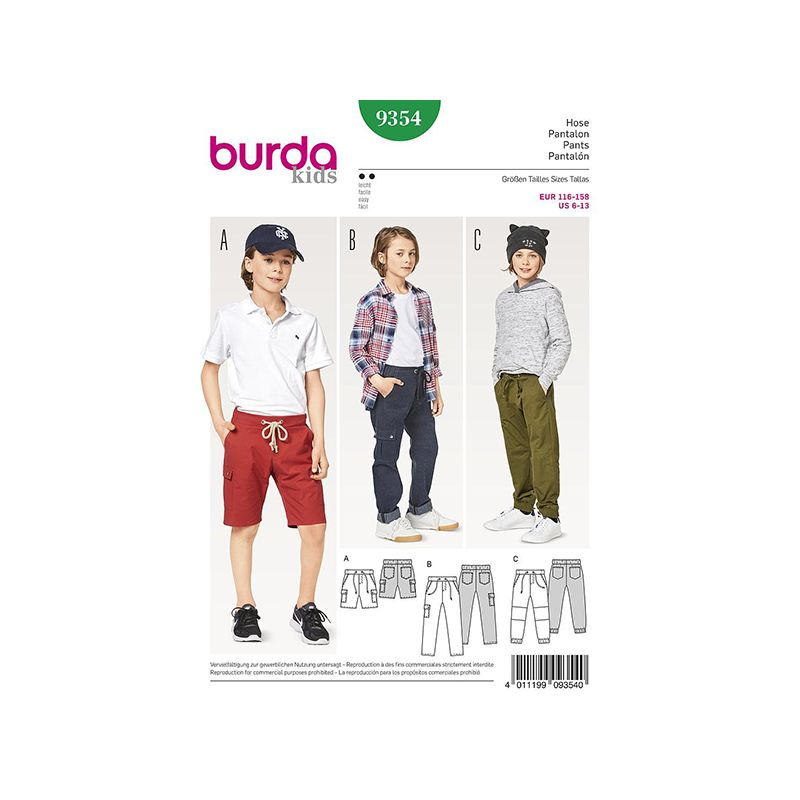 Patron Burda Kids 9354 Pantalon Short