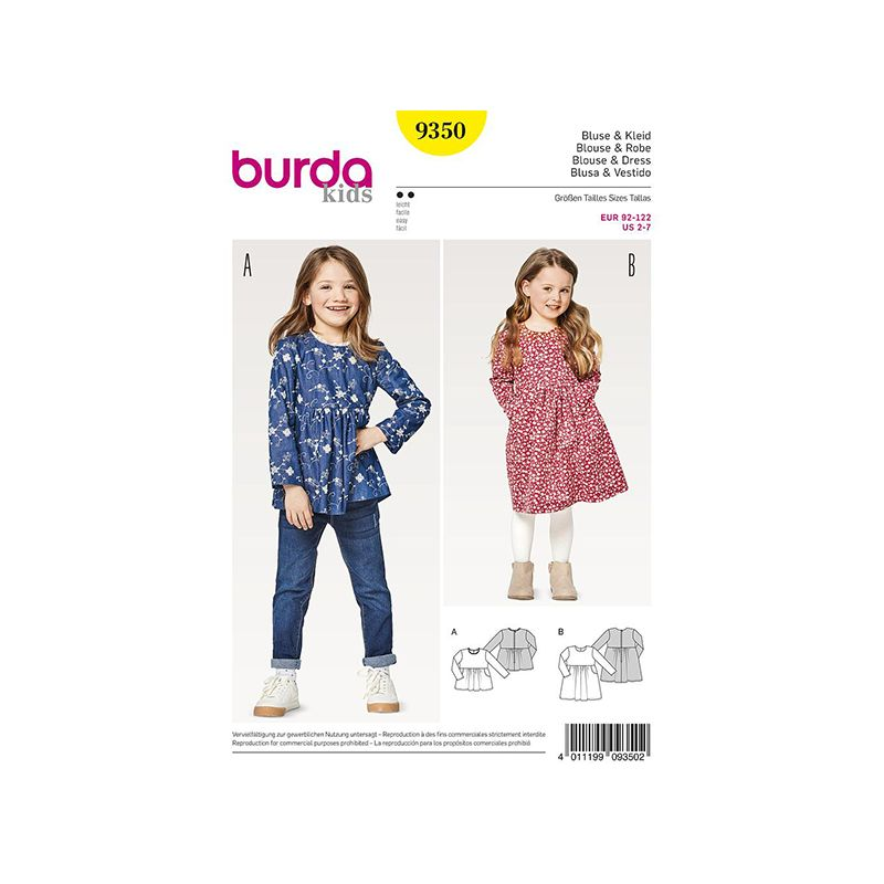 Patron Burda Kids 9350 Blouse Robe