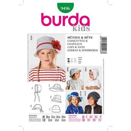 Patron Burda Kids 9496 Casquette et Chapeau
