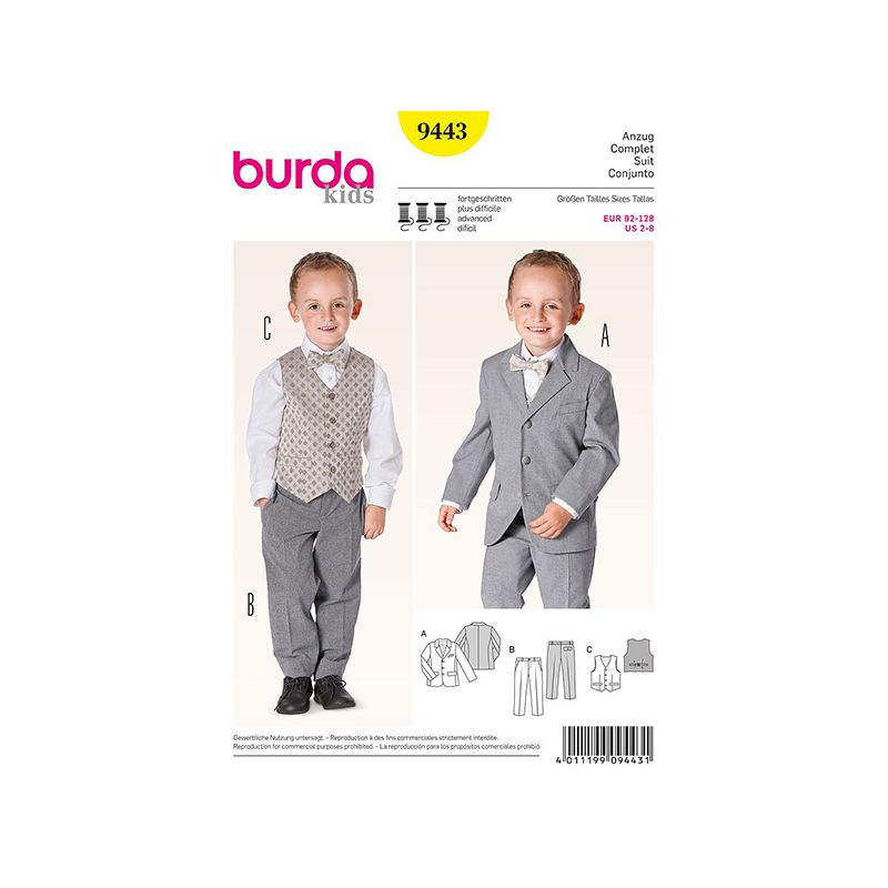 Patron Burda Kids 9443 Ensemble Costume 92/128