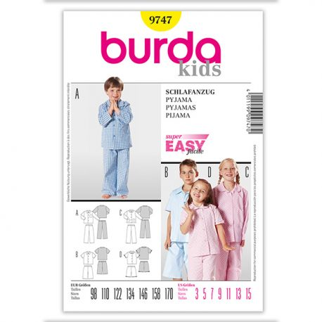 Patron Burda Kids 9747 Pyjama 98/170