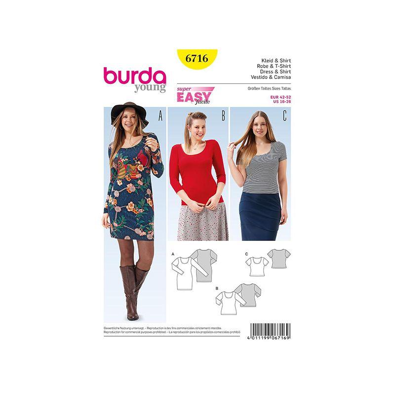 Patron Burda Style 6716 Robe et T shirt 42/52