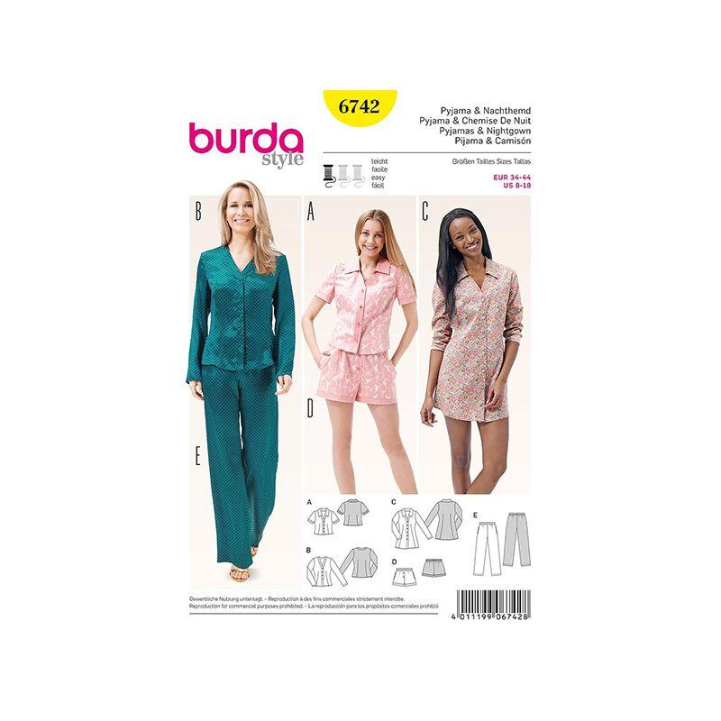 Patron Burda Style 6742 Pyjama et Chemise de Nuit 34/44