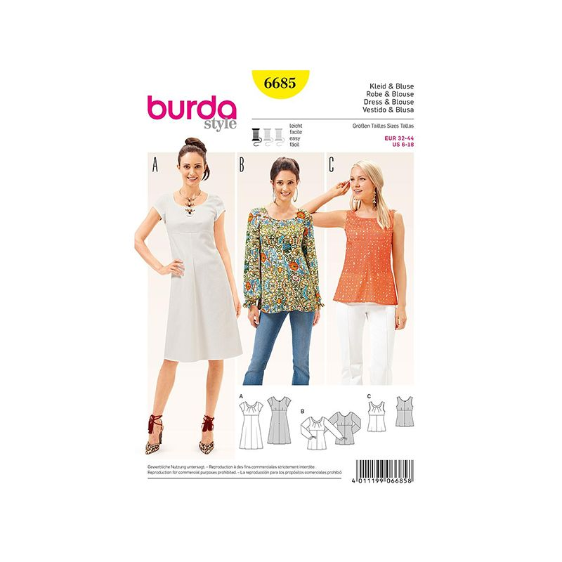 Patron Burda Style 6685 BURDA Robe et Blouse 32/44