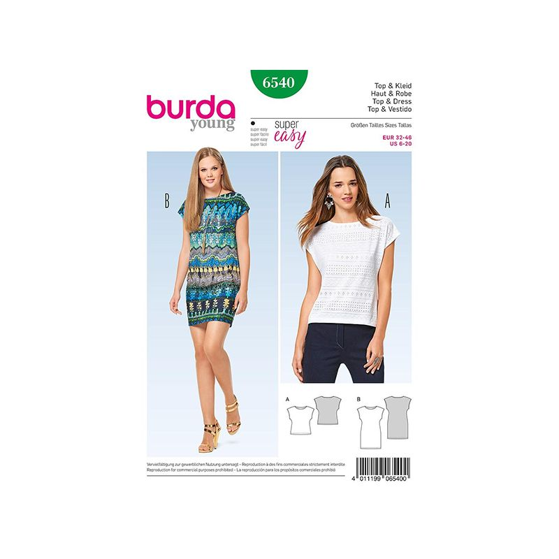 Patron Burda Style 6540 Haut et Robe