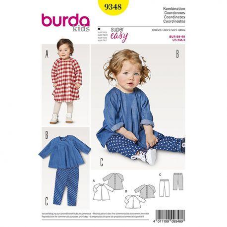 Patron Burda Kids 9348 Ensemble Robe Blouse