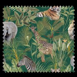 Tissu Velours Tropical Safari Fond Vert