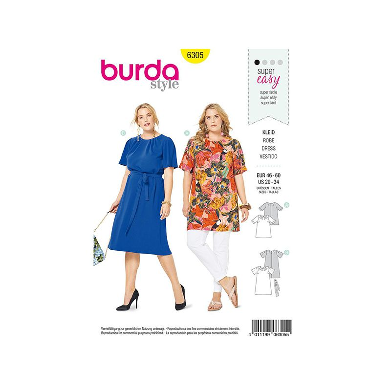 Patron Burda Style 6305 Robe de Femmes de 48 à 62