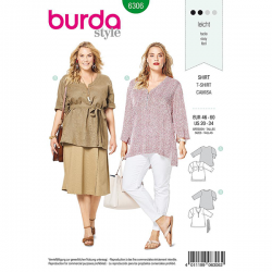 Patron Burda Style 6306 T-shirt pour Femmes de 48 à 62