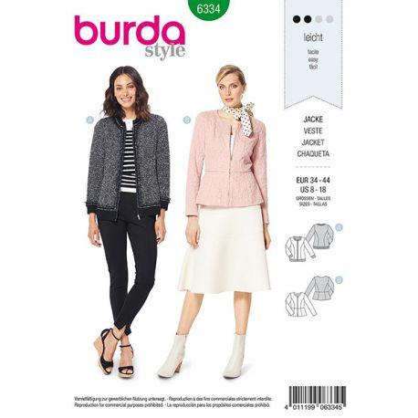 24e14e9b3 Patron Burda Style 6334 Veste pour Femmes de 36 à 46 - Tissus des ...