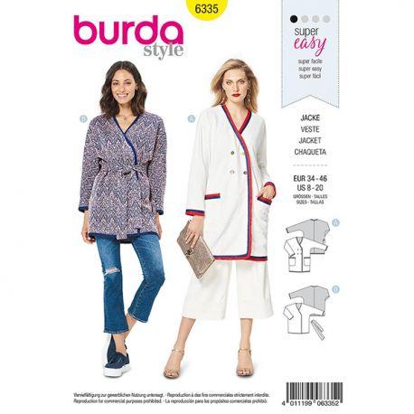 c05a2bc34 Patron Burda Style 6335 Veste pour Femmes de 36 à 48 - Tissus des ...