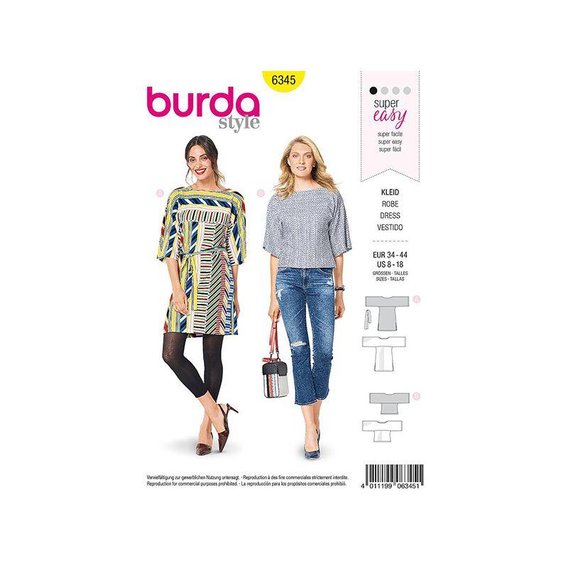 Patron Burda Style 6345 Robe et T-Shirt pour Femmes de 36 à 46