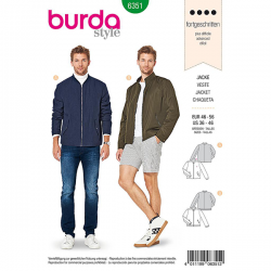 Patron Burda Style 6351 Veste pour Hommes de 48 à 58