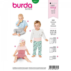 Patron Burda Style 9317 Pantalon pour Bébés de 1 à 18 mois