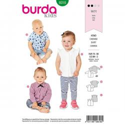 Patron Burda Style 9318 Haut pour Bébés de 9 mois à 3 ans